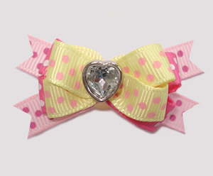 #BTQM871 - Mini Boutique Dog Bow Baby Sweet Dots, Bling Heart