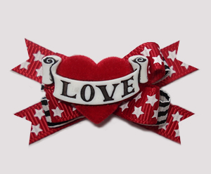 #BTQM876 - Mini Boutique Dog Bow Gorgeous Love Banner w/Heart