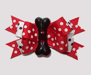 #BTQM878 - Mini Boutique Dog Bow Classic Red/White with Bone
