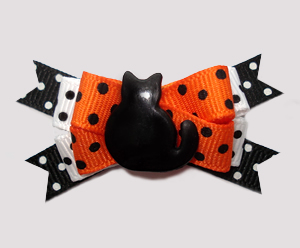 #BTQM879 - Mini Boutique Dog Bow Halloween Dots, Black Cat