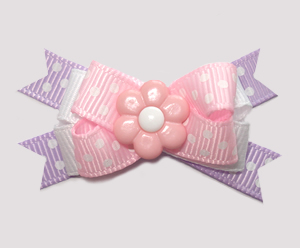 #BTQM881 - Mini Boutique Dog Bow Sweet Pastels, Pink Daisy