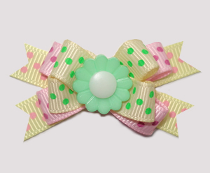 #BTQM882- Mini Boutique Dog Bow Sweet Baby Dots w/Green Daisy