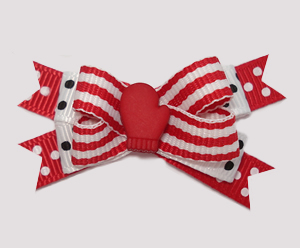 #BTQM884 - Mini Boutique Dog Bow Let It Snow, Red Mitten