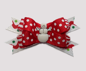 #BTQM887 - Mini Boutique Dog Bow Sprinkle Dots w/Cute Snowman