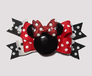 #BTQM892 - Mini Boutique Dog Bow Minnie Mouse w/Glitter Bow