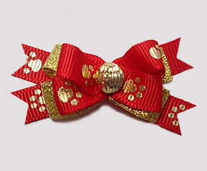 #BTQM894 - Mini Boutique Bow Red/Gold, Precious Golden Paws