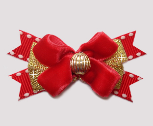 #BTQM901 - Mini Boutique Dog Bow Rich Red Velvet/Gold