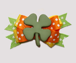 #BTQM905 - Mini Boutique Dog Bow St Patrick's Day Shamrock