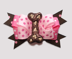 #BTQM906 - Mini Boutique Bow Sparkly Hearts Bone, Pink/Brown