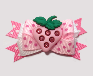 #BTQM907 - Mini Boutique Dog Bow Sweet As Strawberries, Pink