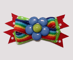 #BTQM911- Mini Boutique Dog Bow Flower Power, Rainbow Stripes