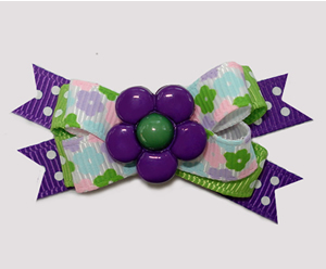 #BTQM912 - Mini Boutique Dog Bow Flower Power, Purple/Green