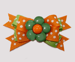 #BTQM913 - Mini Boutique Dog Bow Flower Power, Orange/Green