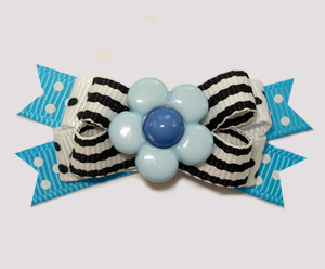 #BTQM914 - Mini Boutique Dog Bow Daisy Stripes 'n Dots, Blue