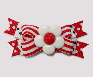 #BTQM915 - Mini Boutique Dog Bow Daisy Stripes 'n Dots, Red