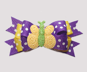 #BTQM917- Mini Boutique Bow Purple/Yellow, Glitter Butterfly