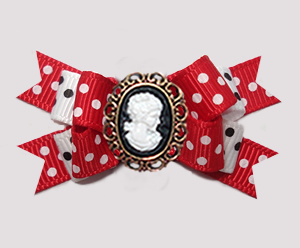 #BTQM919 - Mini Boutique Dog Bow Classic Red/White with Cameo