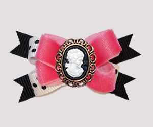 #BTQM920 - Mini Boutique Dog Bow Gorgeous Pink Velvet, Cameo