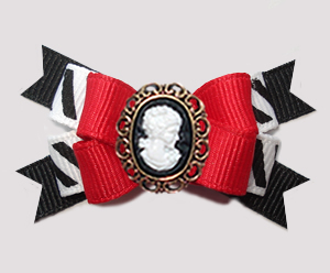 #BTQM922 - Mini Boutique Dog Bow Classic Red/Black with Cameo