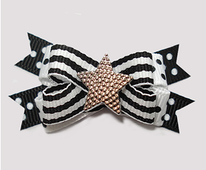 #BTQM923- Mini Boutique Bow Classic B/W Stripes 'n Dots, Star