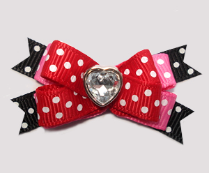 #BTQM925- Mini Boutique Dog Bow Classic Dots with Bling Heart
