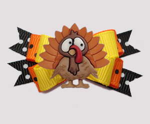 #BTQM933 - Mini Boutique Bow Happy Thanksgiving! Cute Turkey