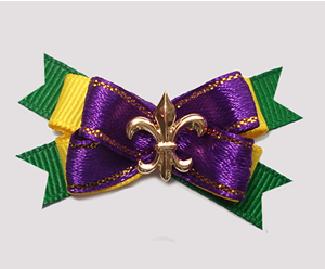 #BTQM937 - Mini Boutique Dog Bow Mardi Gras Fleur de Lis
