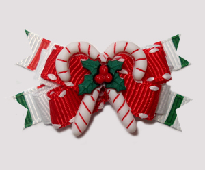 #BTQM938 - Mini Boutique Dog Bow Sweet Candy Canes on Red