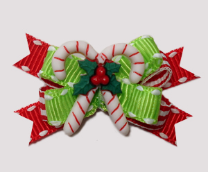 #BTQM939 - Mini Boutique Dog Bow Sweet Candy Canes on Green
