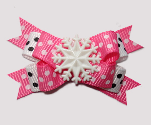 #BTQM940- Mini Boutique Dog Bow Pink with Sprinkle Dots, Snow