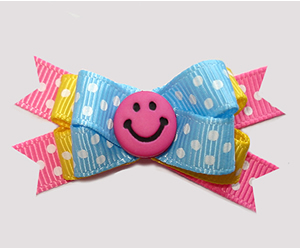 #BTQM942- Mini Boutique Dog Bow Bright & Cheery, Happy Smiley