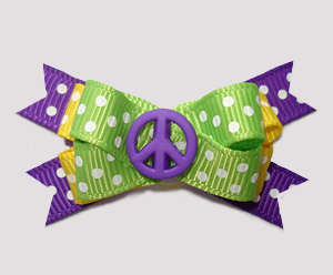 #BTQM944 - Mini Boutique Dog Bow Give Peace A Chance, Purple