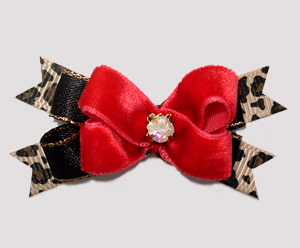 #BTQM963 - Mini Boutique Dog Bow Rich Red Velvet/Leopard