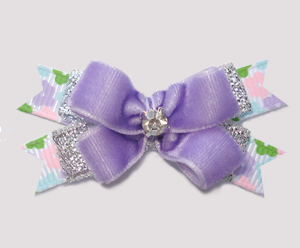 #BTQM964- Mini Boutique Dog Bow Lavender Velvet/Silver/Floral