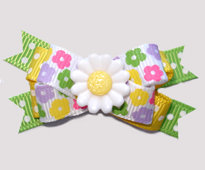 #BTQM965 - Mini Boutique Dog Bow Petite Spring Flowers, Daisy