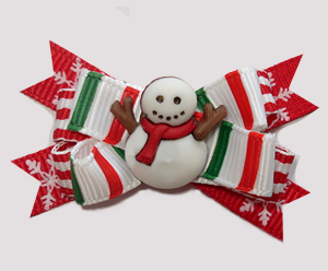 #BTQM967- Mini Boutique Bow Candy Cane Stripes w/Cute Snowman