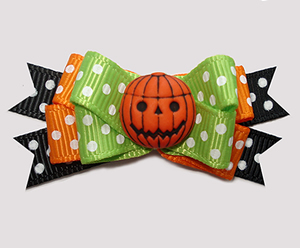#BTQM969- Mini Boutique Bow Pumpkin Patch, Green/Orange/Black
