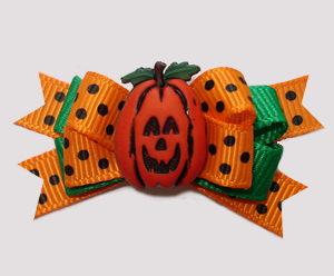 #BTQM971- Mini Boutique Dog Bow Awesome Autumn Jack-O-Lantern