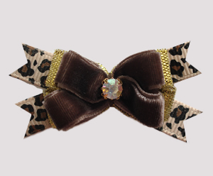 #BTQM974 - Mini Boutique Dog Bow Chocolate Velvet/Leopard