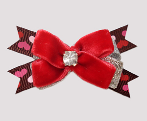 #BTQM975 - Mini Boutique Dog Bow Red Velvet Sweetheart