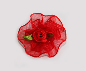 #BCLPBLM16 - Dog Hair Clip - Organza Bloom, Passionate Red