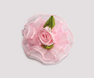 #BCLPBLM19 - Dog Hair Clip - Organza Bloom, Baby Pink