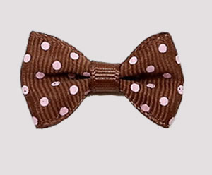 #CNG090- Dog Hair Clip - Clip 'n Go, Chocolate Brown/White Dots