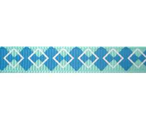 "#DIY38-0140 - 12"" of 3/8"" Ribbon - Preppy Blue Argyle"