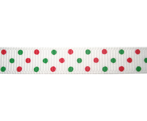 "#DIY38-0250 - 12"" of 3/8"" Ribbon - Candy Cane Dots"