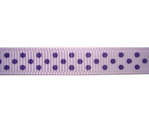 "#DIY38-0260 - 12"" of 3/8"" Ribbon - Lavender, Purple Dots"