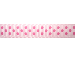 "#DIY38-0270 - 12"" of 3/8"" Ribbon - Pink on Pink Dots"