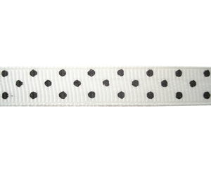 "#DIY38-0280 - 12"" of 3/8"" Ribbon - White, Black Dots"