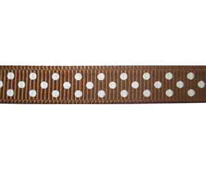 "#DIY38-0300- 12"" of 3/8"" Ribbon Tuftan Brown, White Dots"