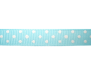 "#DIY38-0310 - 12"" of 3/8"" Ribbon - Sky Blue, White Dots"